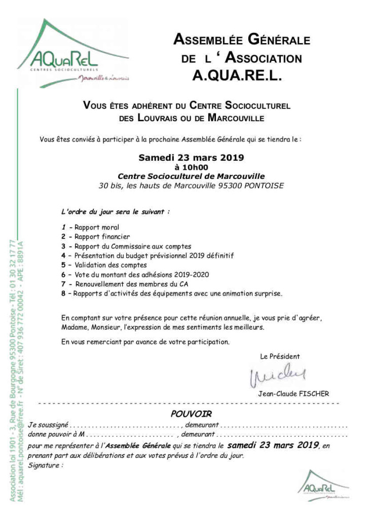 Convocation AG AQUAREL 23 mars 19