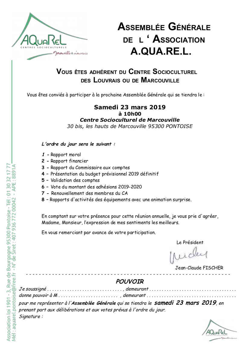 Assemblees Generales Association Aquarel